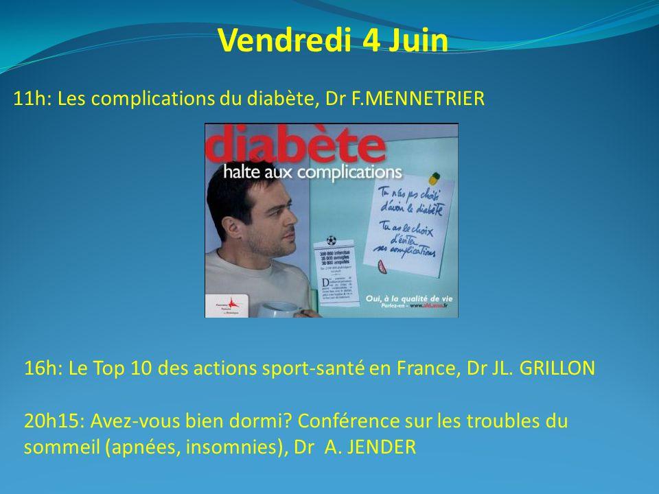 Vendredi 4 Juin 11h: Les complications du diabète, Dr F.MENNETRIER