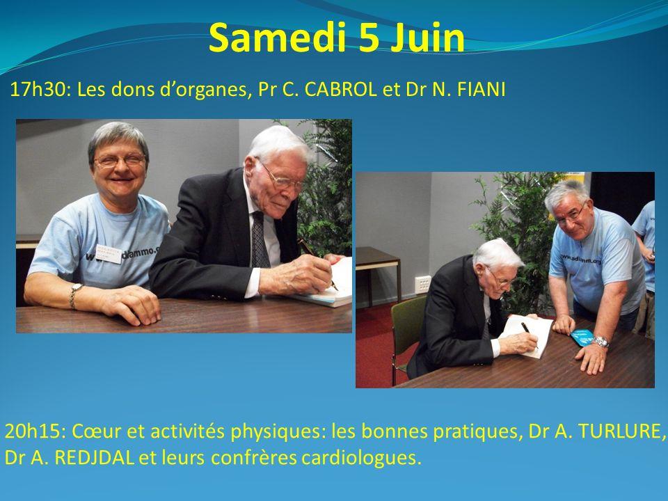 Samedi 5 Juin 17h30: Les dons d'organes, Pr C. CABROL et Dr N. FIANI