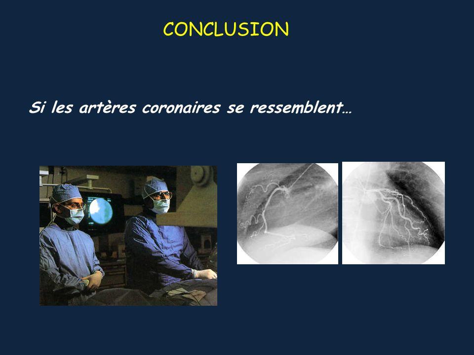 CONCLUSION Si les artères coronaires se ressemblent…