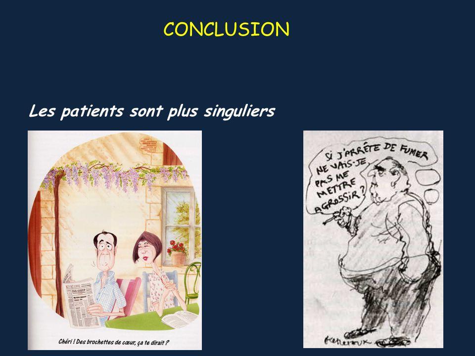 CONCLUSION Les patients sont plus singuliers