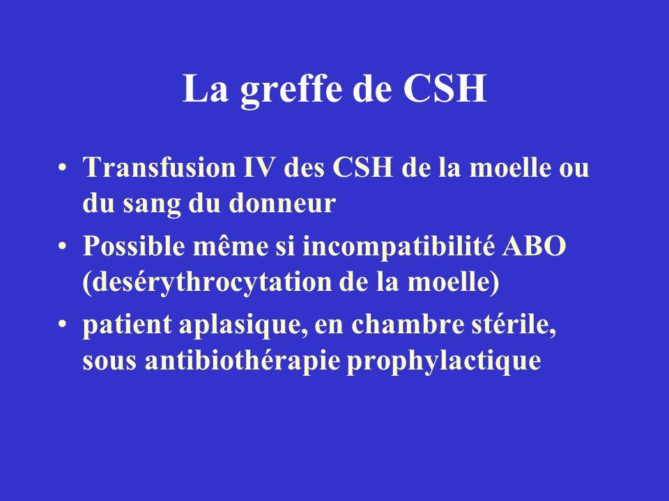 La greffe de CSH Transfusion IV des CSH de la moelle ou du sang du donneur. Possible même si incompatibilité ABO (desérythrocytation de la moelle)