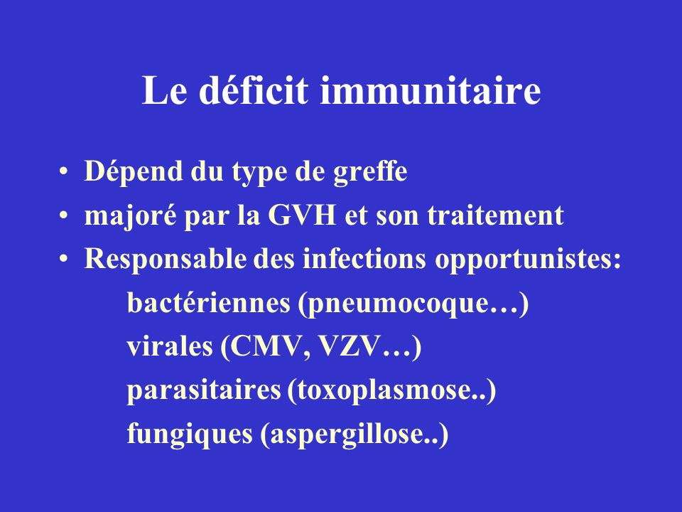 Le déficit immunitaire