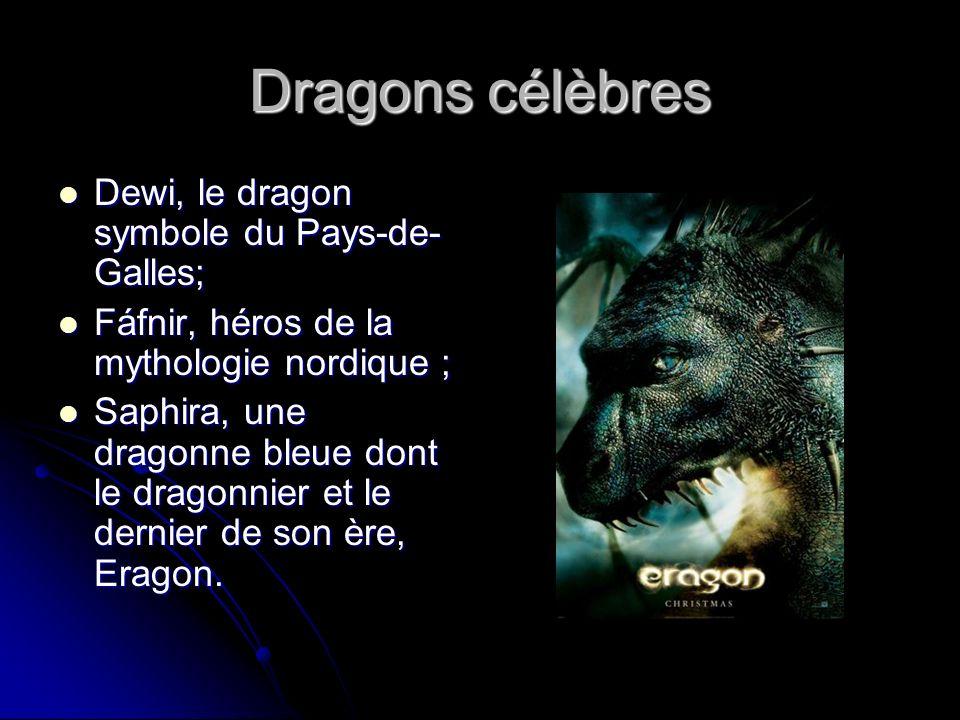 Dragons célèbres Dewi, le dragon symbole du Pays-de-Galles;