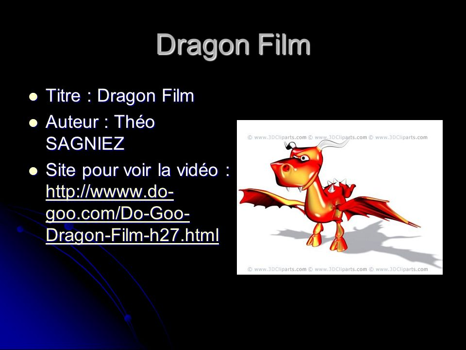 Dragon Film Titre : Dragon Film Auteur : Théo SAGNIEZ