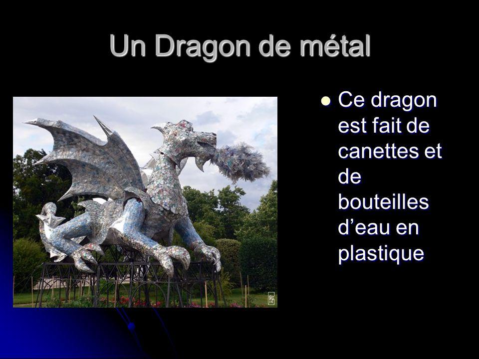 Un Dragon de métal Ce dragon est fait de canettes et de bouteilles d'eau en plastique