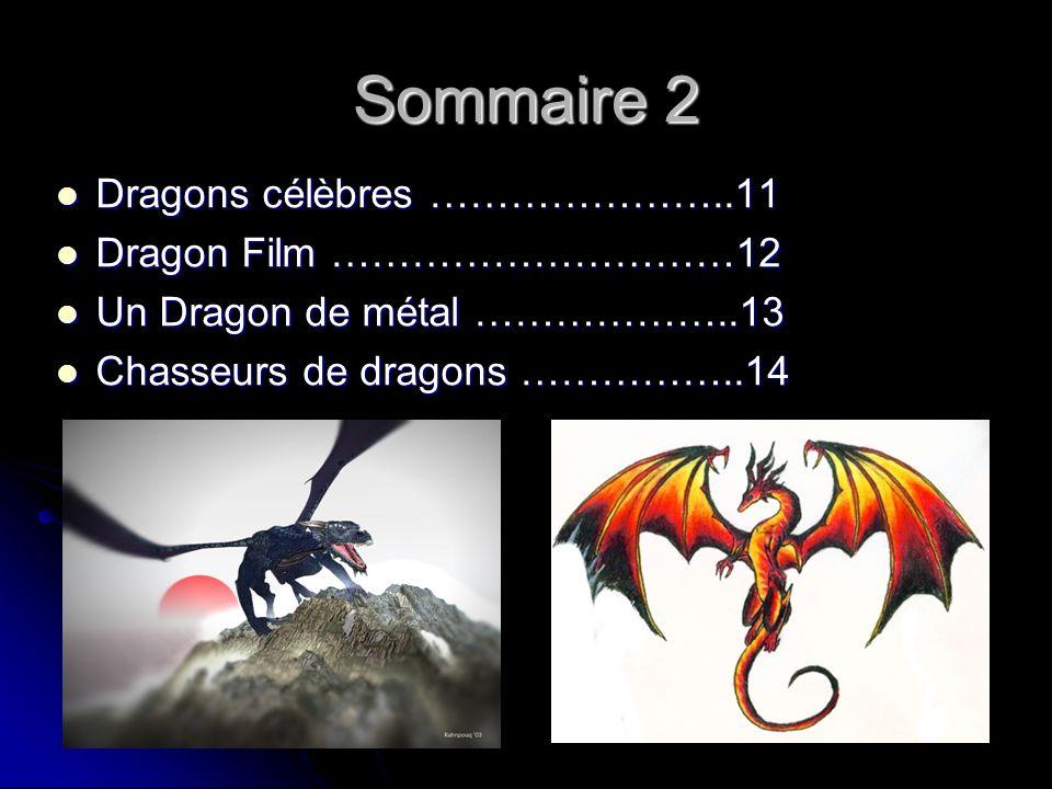 Sommaire 2 Dragons célèbres …………………..11 Dragon Film …………………………12