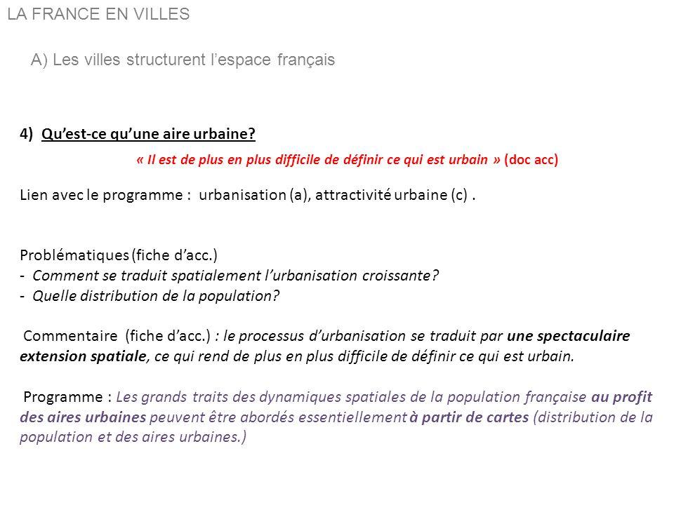 A) Les villes structurent l'espace français