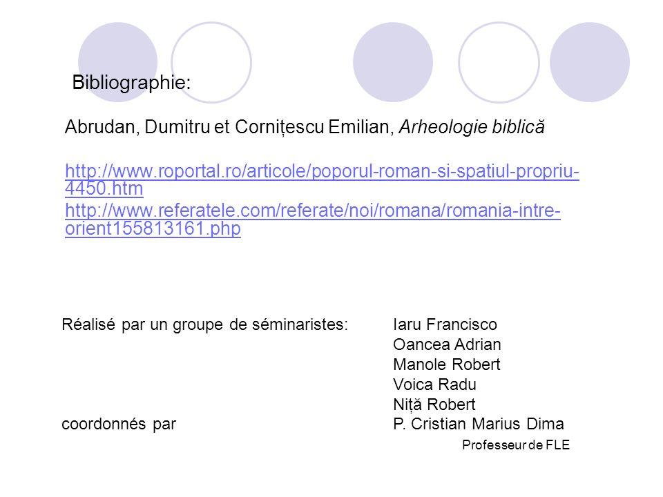 Bibliographie:Abrudan, Dumitru et Corniţescu Emilian, Arheologie biblică. http://www.roportal.ro/articole/poporul-roman-si-spatiul-propriu-4450.htm.