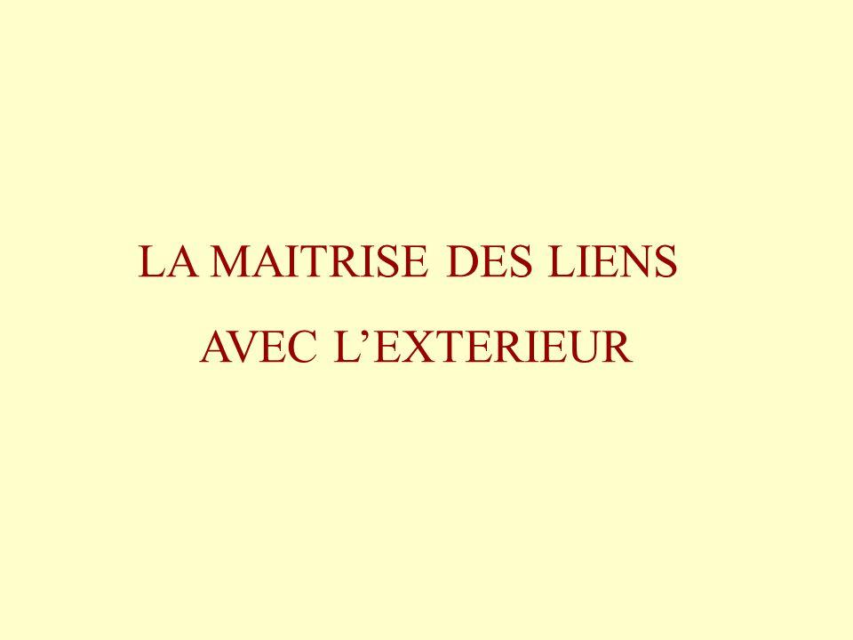 LA MAITRISE DES LIENS AVEC L'EXTERIEUR