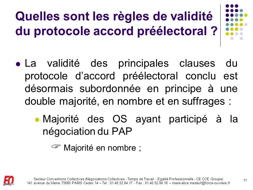 Quelles sont les règles de validité du protocole accord préélectoral