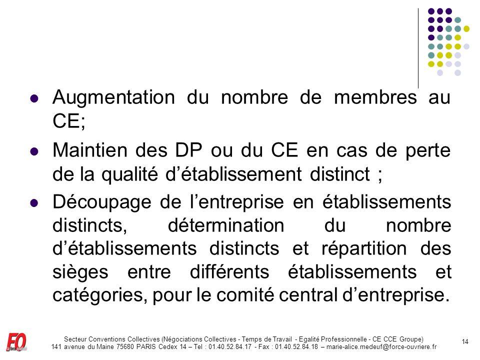 Augmentation du nombre de membres au CE;