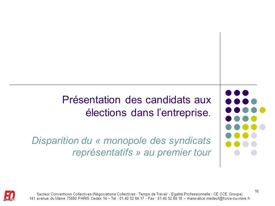 Présentation des candidats aux élections dans l'entreprise.