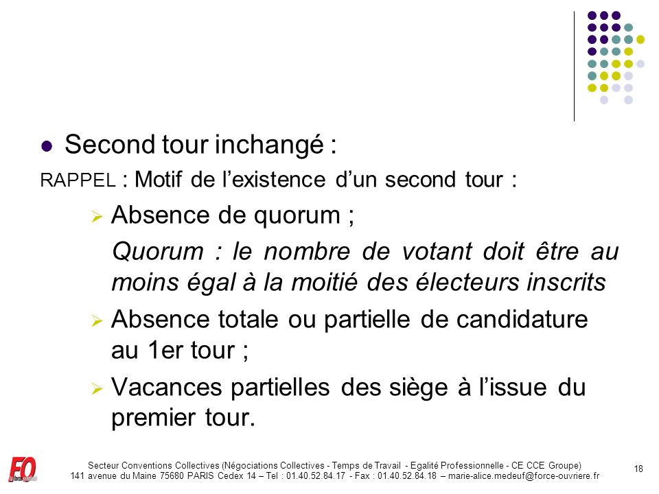 Second tour inchangé : Absence de quorum ;