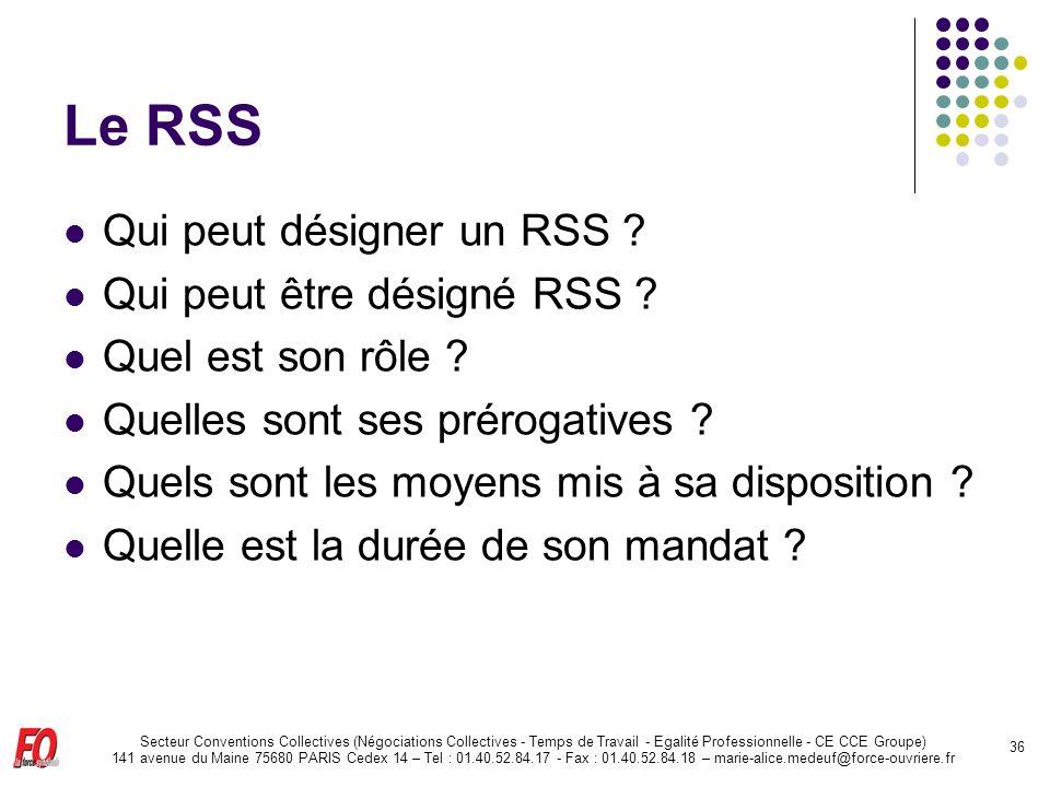Le RSS Qui peut désigner un RSS Qui peut être désigné RSS