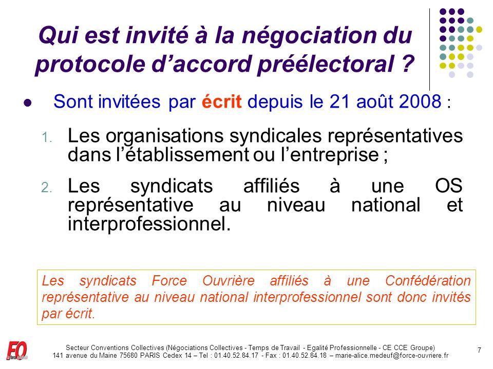 Qui est invité à la négociation du protocole d'accord préélectoral