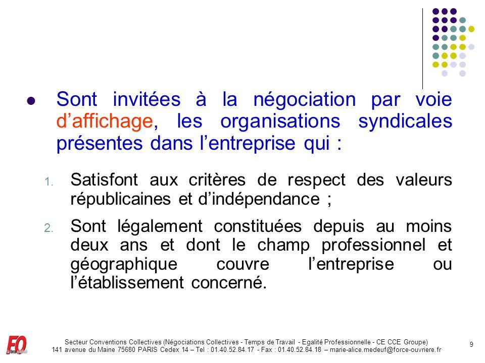 Sont invitées à la négociation par voie d'affichage, les organisations syndicales présentes dans l'entreprise qui :