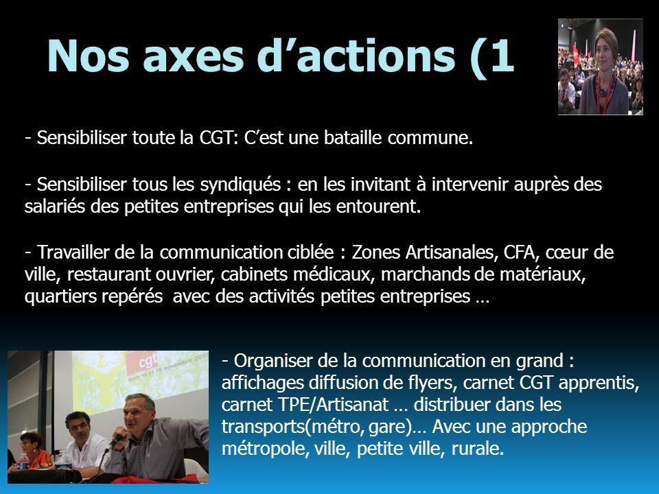 Nos axes d'actions (1- Sensibiliser toute la CGT: C'est une bataille commune.