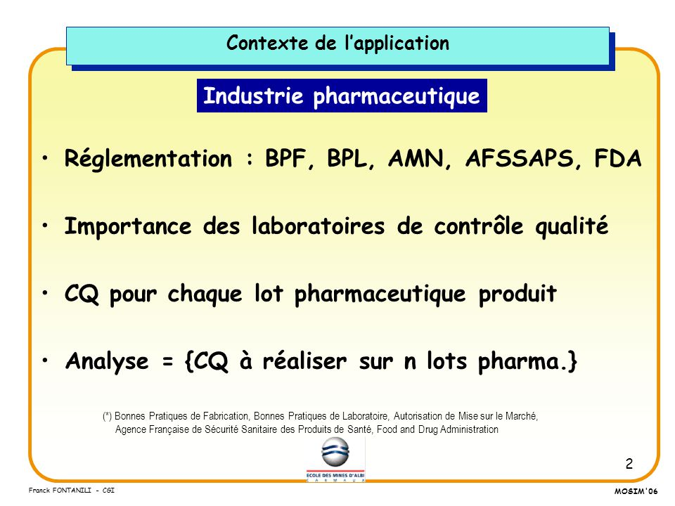 Contexte de l'application Industrie pharmaceutique