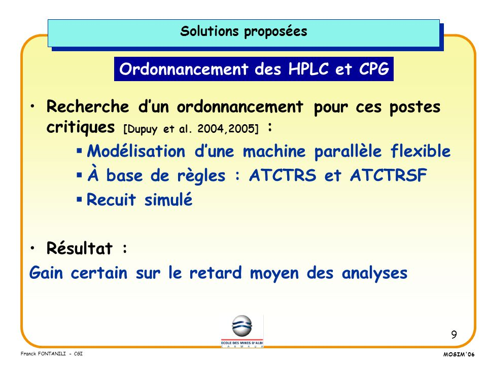 Ordonnancement des HPLC et CPG
