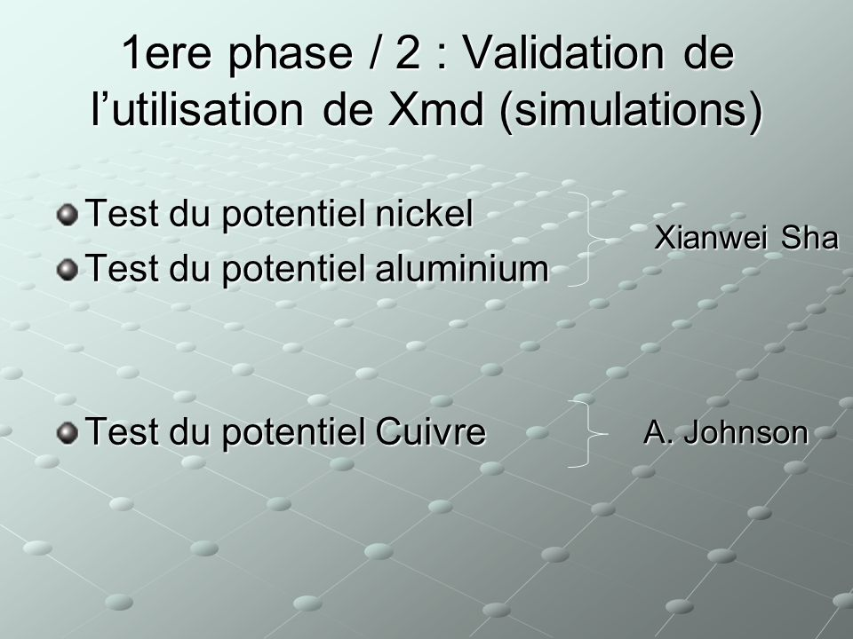 1ere phase / 2 : Validation de l'utilisation de Xmd (simulations)