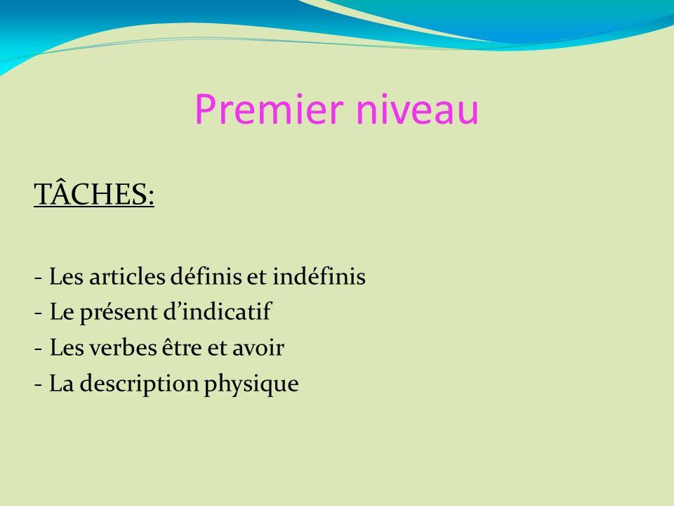 Premier niveau TÂCHES: - Les articles définis et indéfinis