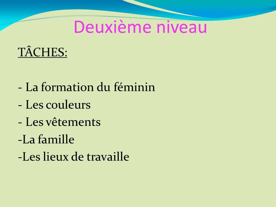 Deuxième niveau TÂCHES: - La formation du féminin - Les couleurs