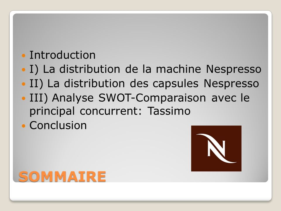SOMMAIRE Introduction I) La distribution de la machine Nespresso