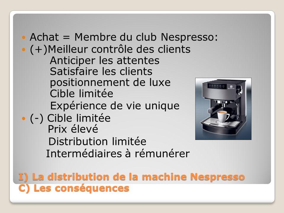 I) La distribution de la machine Nespresso C) Les conséquences