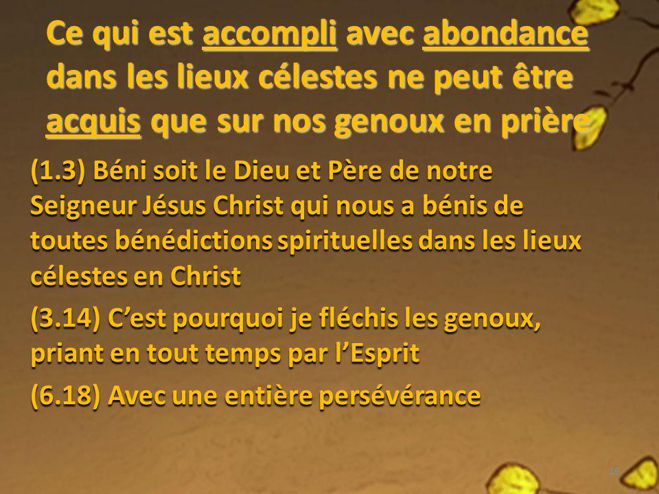 Ce qui est accompli avec abondance dans les lieux célestes ne peut être acquis que sur nos genoux en prière