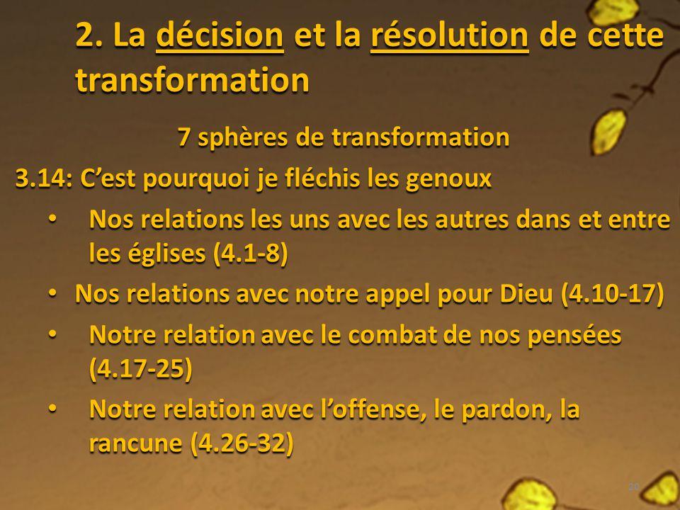 2. La décision et la résolution de cette transformation