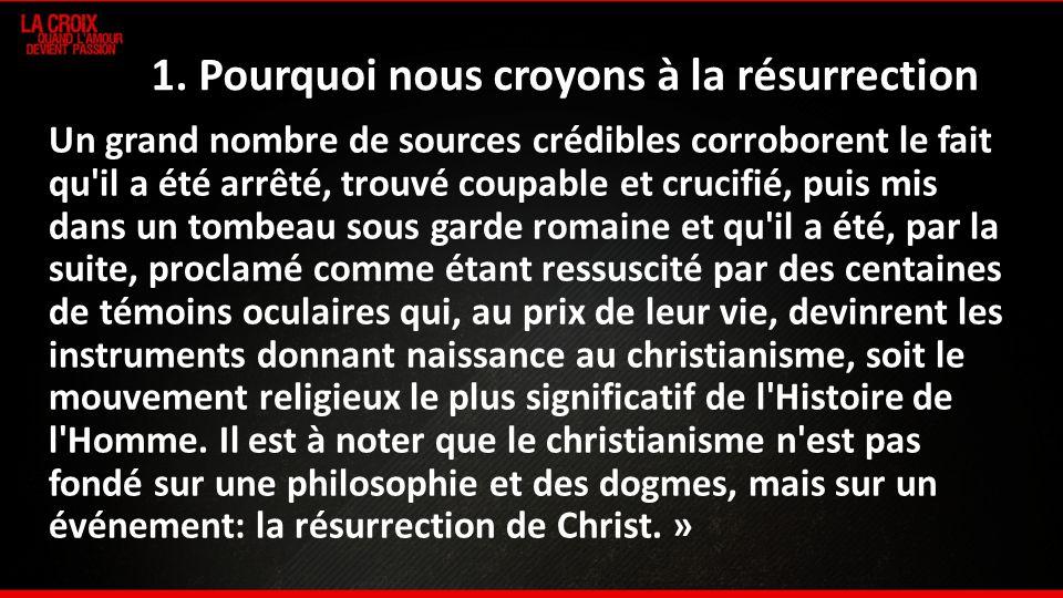 1. Pourquoi nous croyons à la résurrection