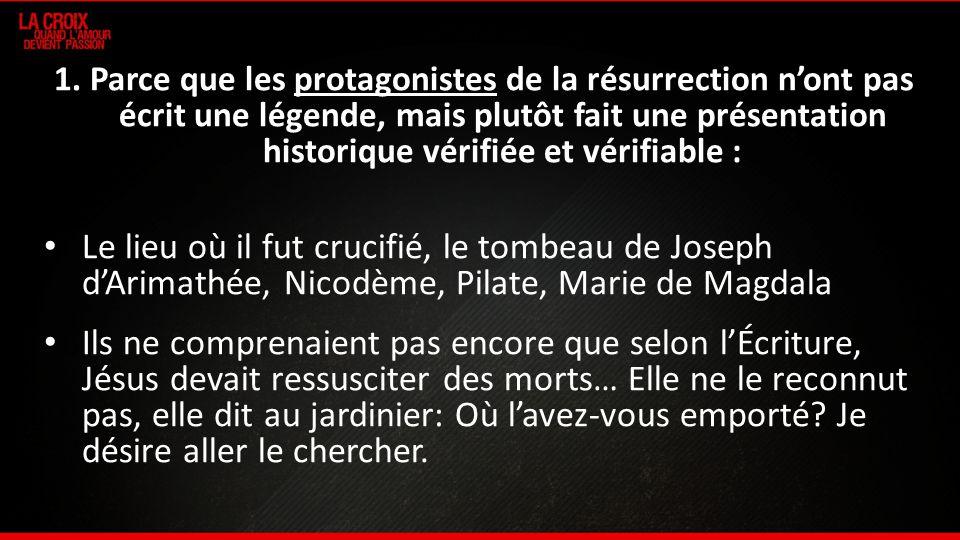 1. Parce que les protagonistes de la résurrection n'ont pas écrit une légende, mais plutôt fait une présentation historique vérifiée et vérifiable :