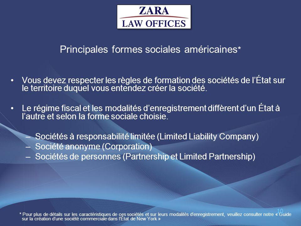 Principales formes sociales américaines*
