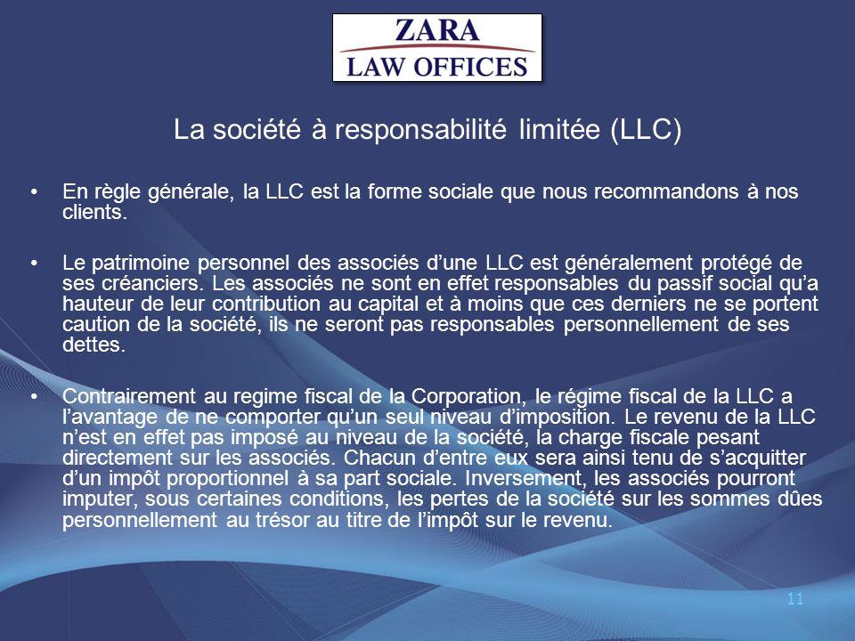 La société à responsabilité limitée (LLC)