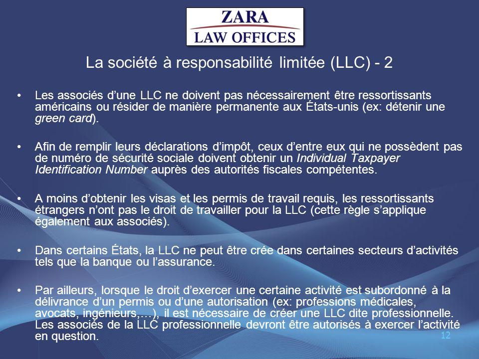 La société à responsabilité limitée (LLC) - 2