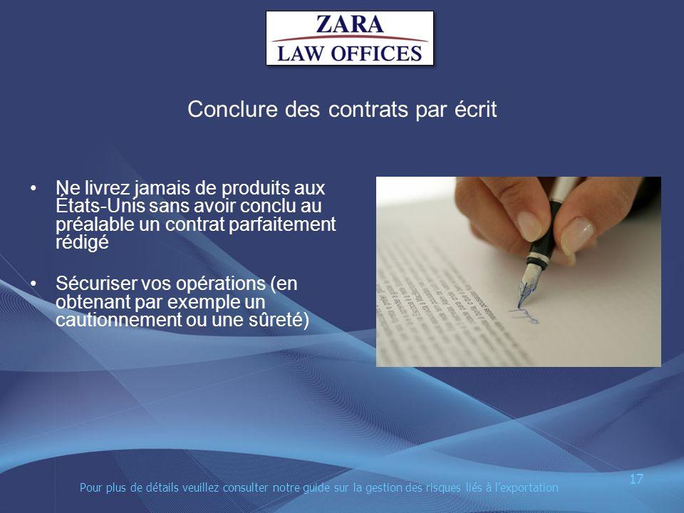 Conclure des contrats par écrit