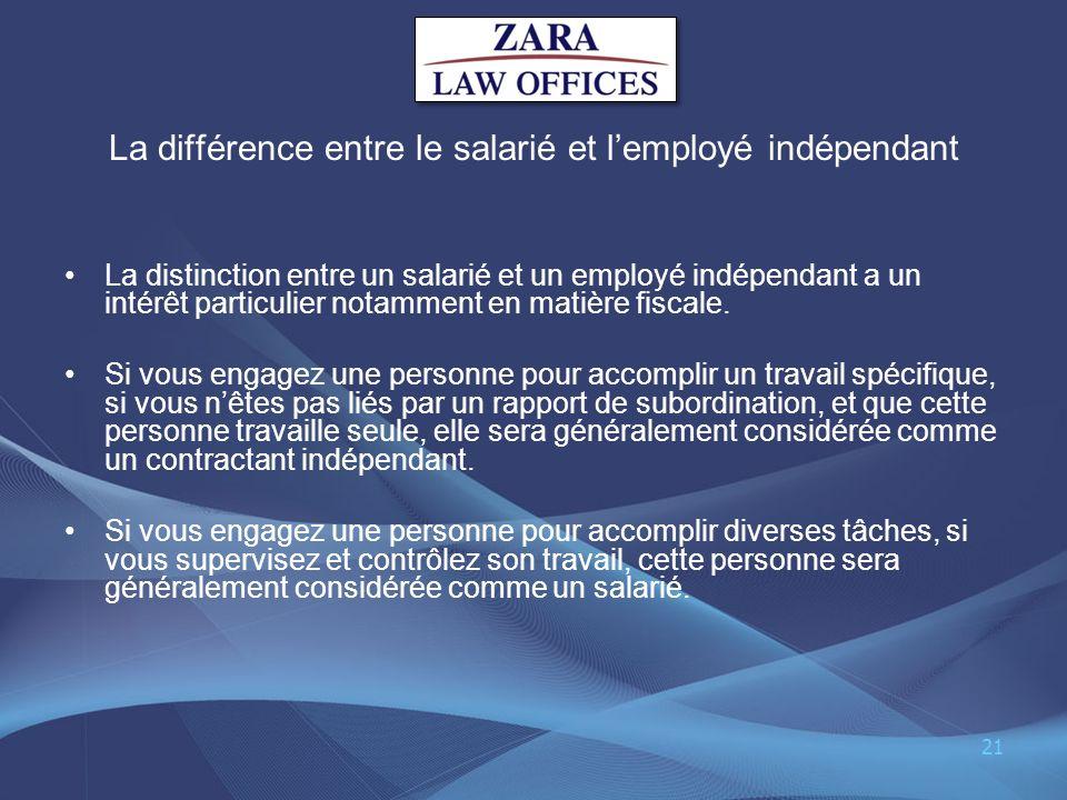 La différence entre le salarié et l'employé indépendant