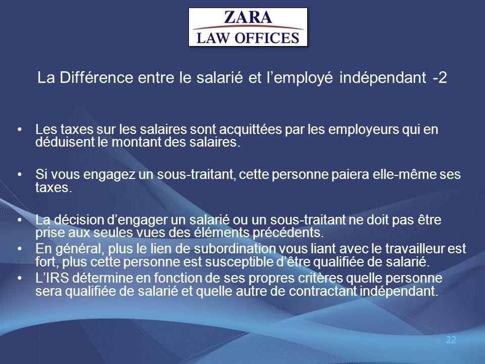 La Différence entre le salarié et l'employé indépendant -2