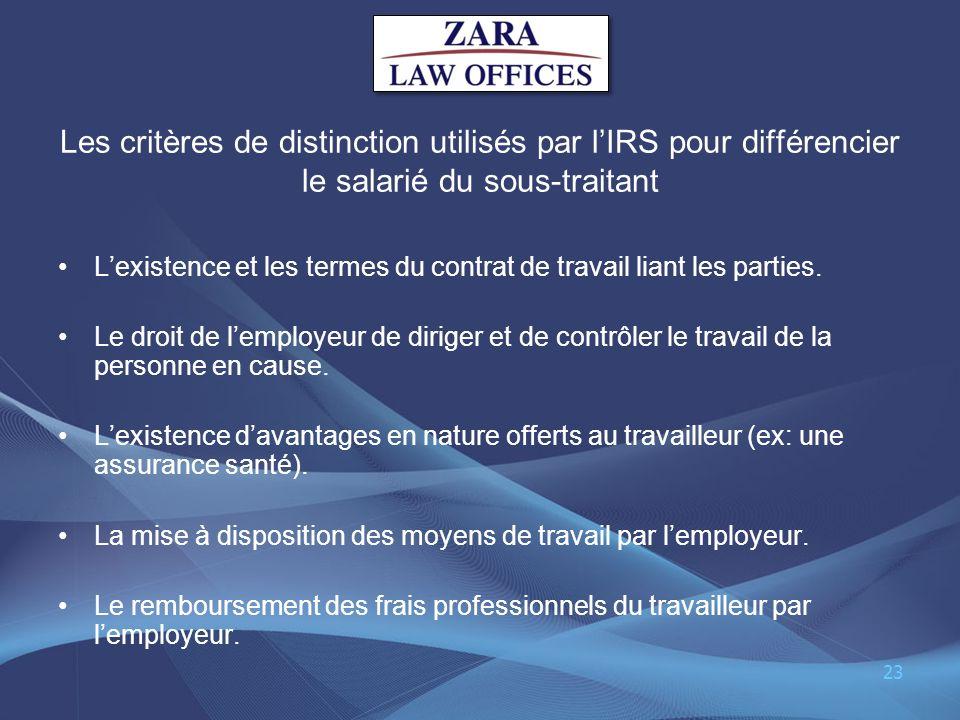 Les critères de distinction utilisés par l'IRS pour différencier le salarié du sous-traitant