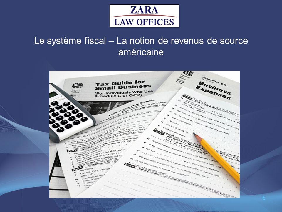 Le système fiscal – La notion de revenus de source américaine