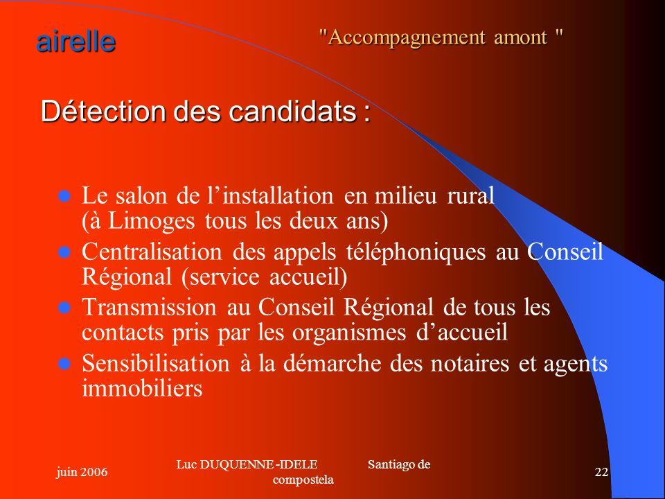 Détection des candidats :