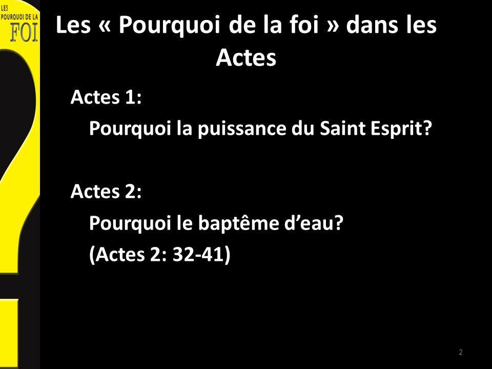Les « Pourquoi de la foi » dans les Actes