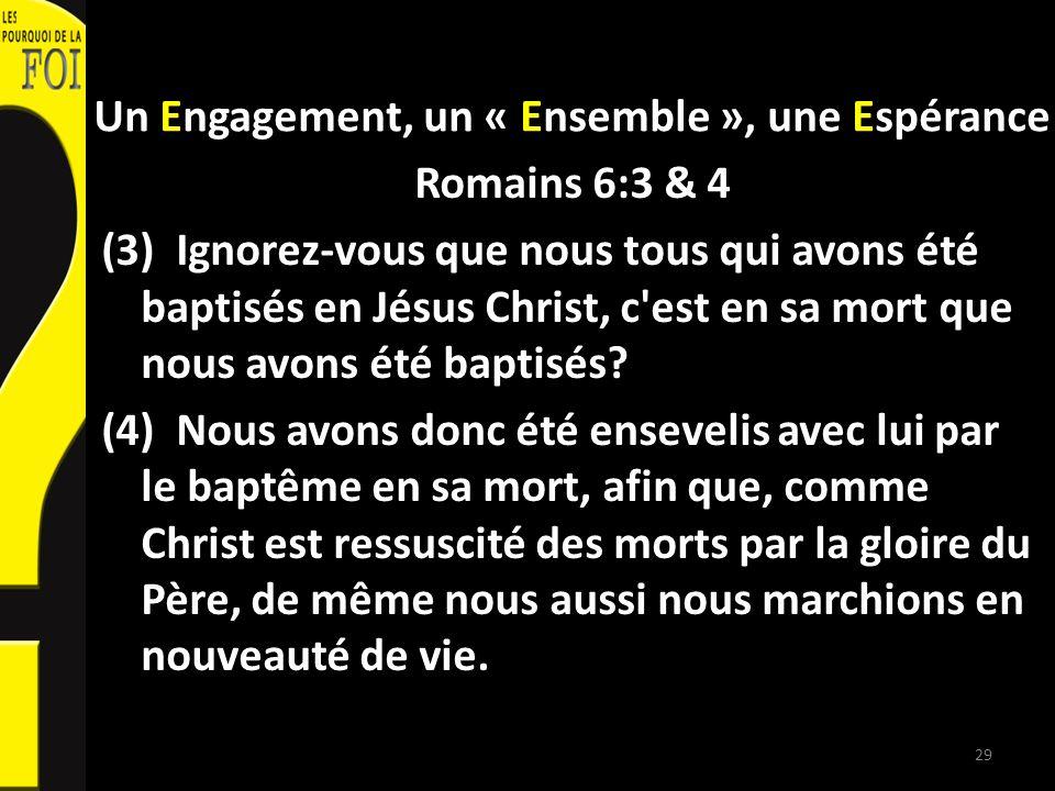 Un Engagement, un « Ensemble », une Espérance