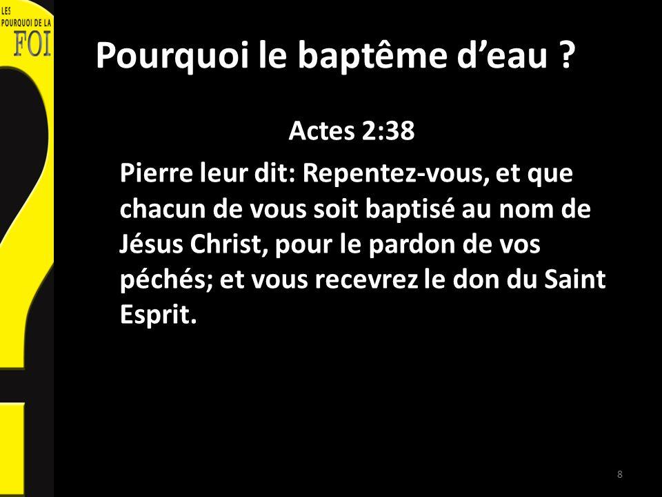 Pourquoi le baptême d'eau