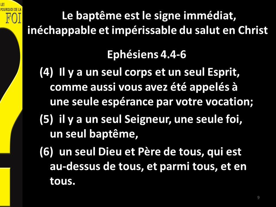 Le baptême est le signe immédiat, inéchappable et impérissable du salut en Christ