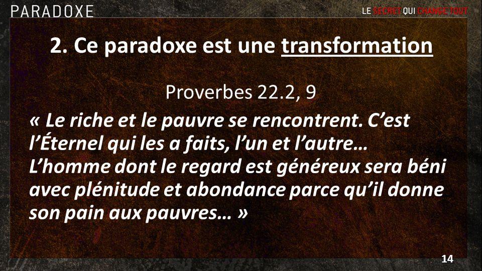2. Ce paradoxe est une transformation