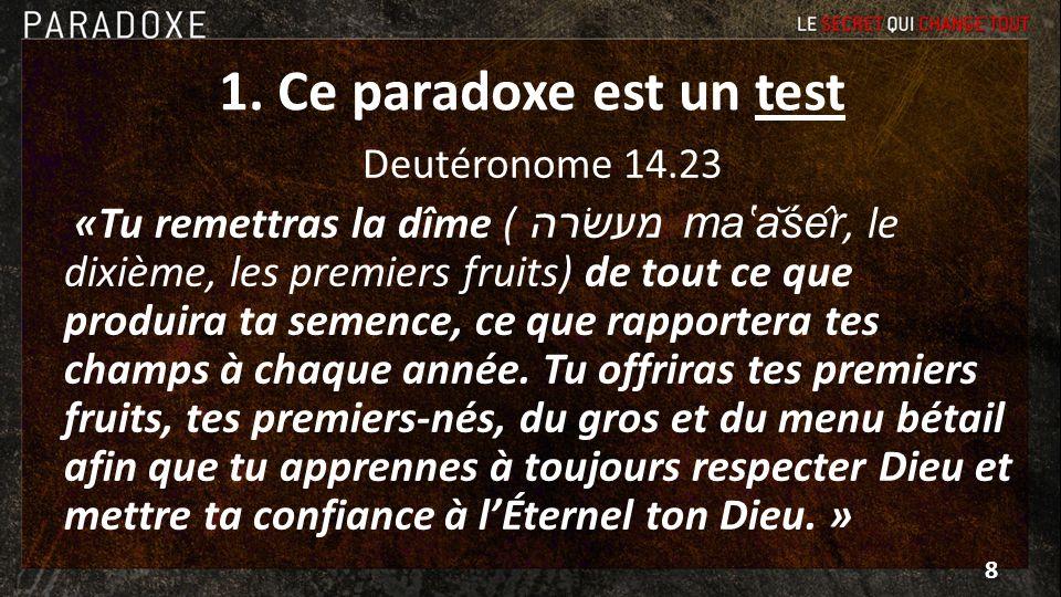 1. Ce paradoxe est un test Deutéronome 14.23.