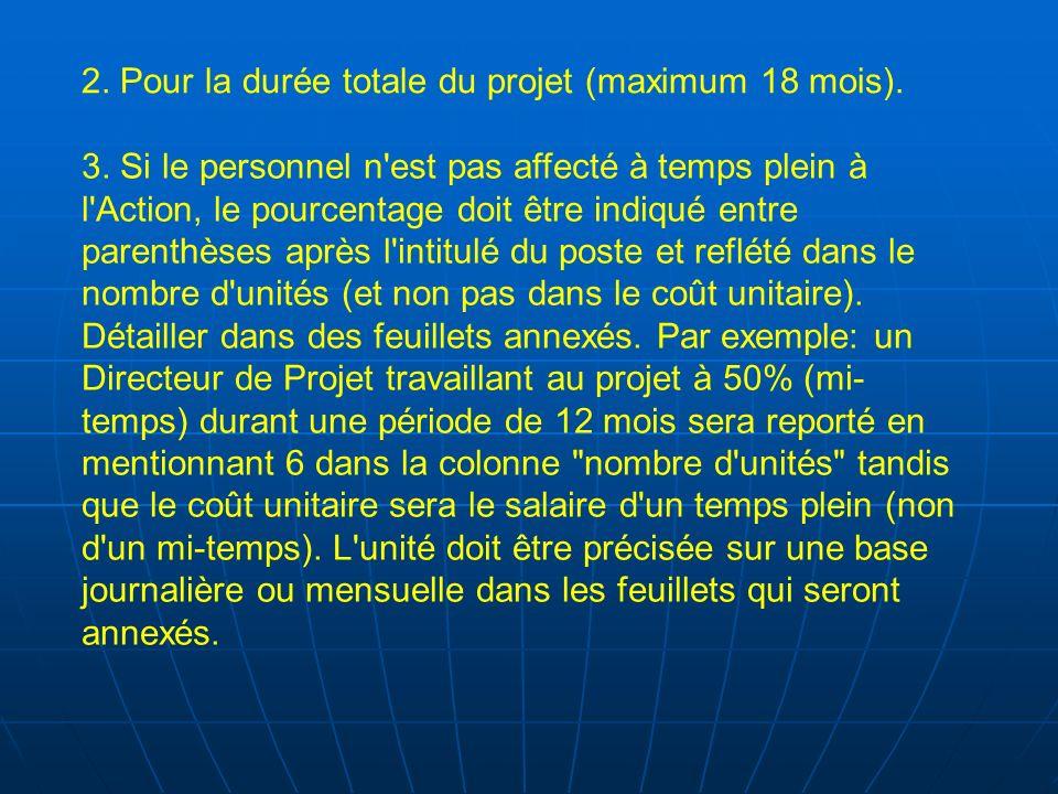 2. Pour la durée totale du projet (maximum 18 mois).