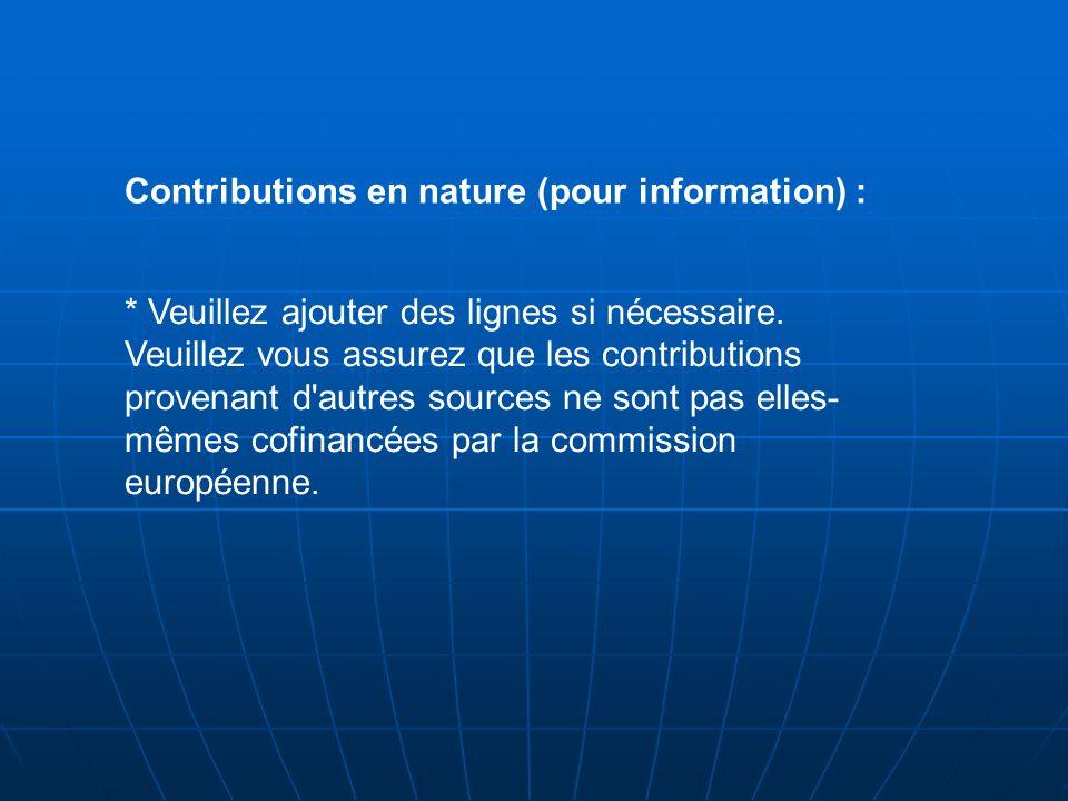 Contributions en nature (pour information) :