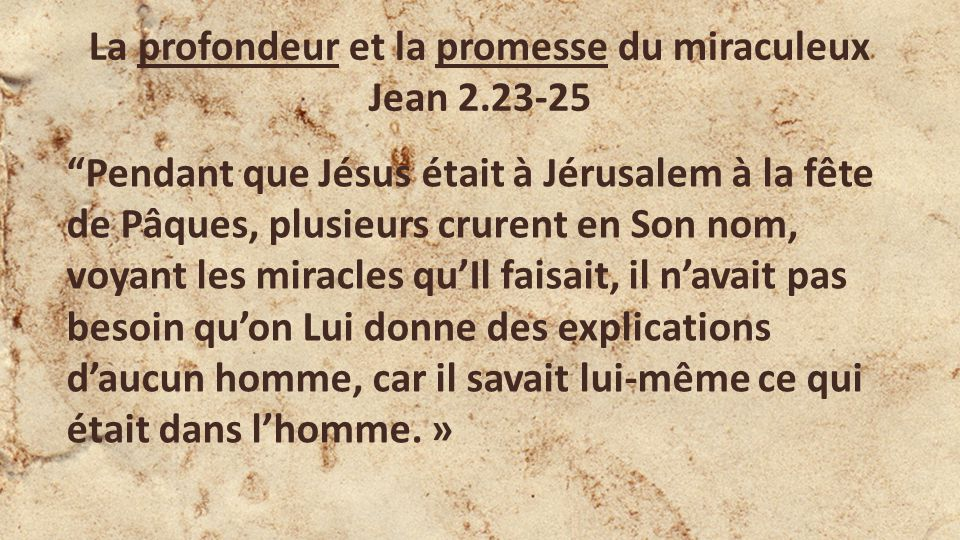 La profondeur et la promesse du miraculeux Jean 2.23-25